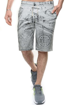 Madmext Patterned Grey Shorts 2418