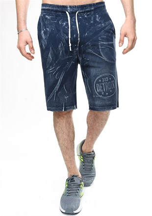 Madmext Patterned Navy Blue Shorts 2418