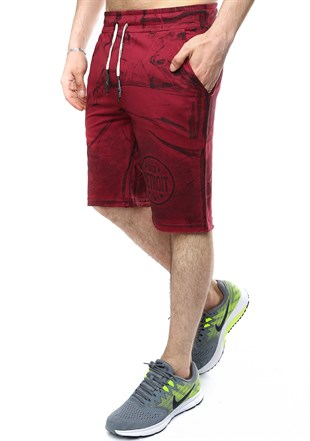 Madmext Patterned Burgundy Shorts 2418
