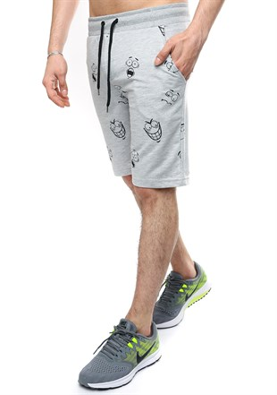 Madmext Grey Patterned Fitness Capri for Men 2410