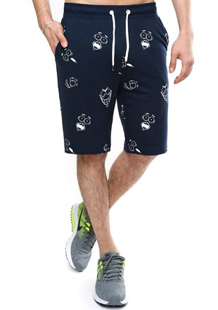 Madmext Patterned Navy Blue Shorts 2410