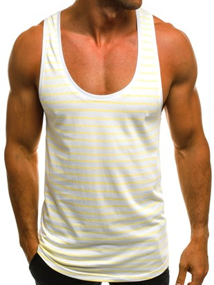 Sleeveless T-Shirt In Striped Printed