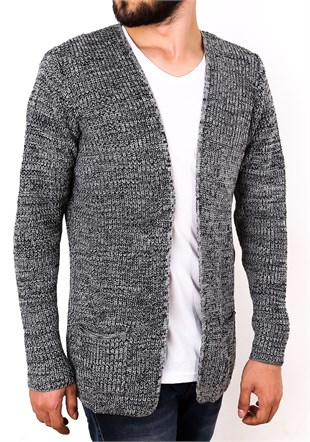 Madmext Grey Knitting Cardigan 1569