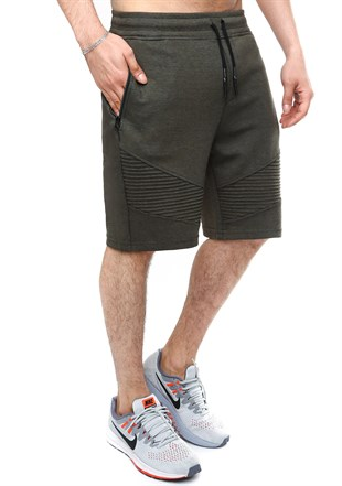Madmext Patterned Khaki Fitness Shorts 2415