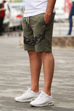 Madmext Khaki Camouflage Patterned Capri for Men 2414
