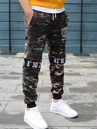Madmext Camouflage Casual Brown Joggers 2084