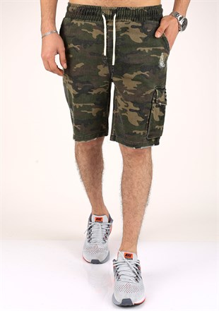 Madmext Green Camouflage Capri for Men 2400