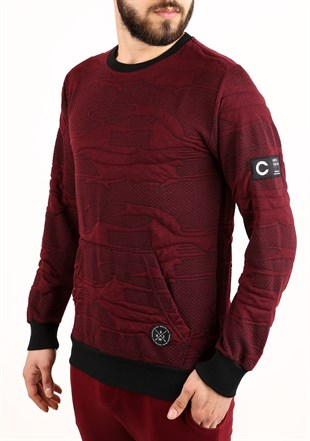Madmext Kanguru Cepli Bordo Sweatshirt 2163