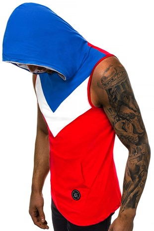 Madmext Red T-shirt with Hood for Men 2897