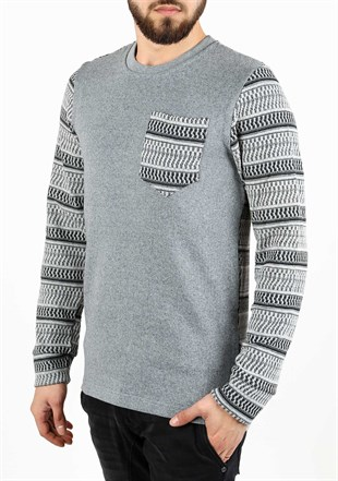 Madmext Patterned Grey Sweater 1629