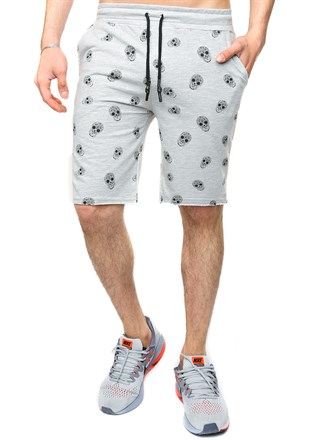 Madmext Grey Patterned Capri for Men 2426