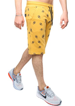 Madmext Yellow Patterned Capri for Men 2426