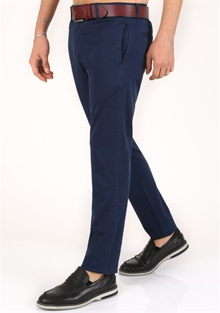 Madmext lycra Gabardine Navy Blue Pants 2055