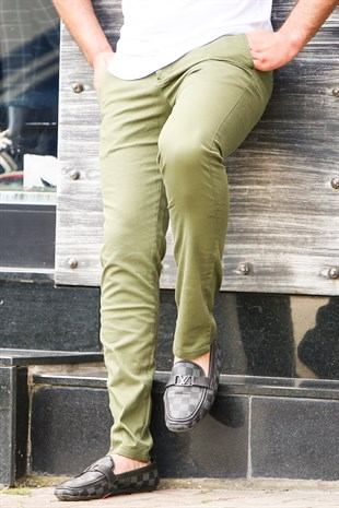 Madmext Green Gabardine Trouser 2049