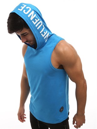 Sleeveless T-Shirt In Hooded Blue 2537