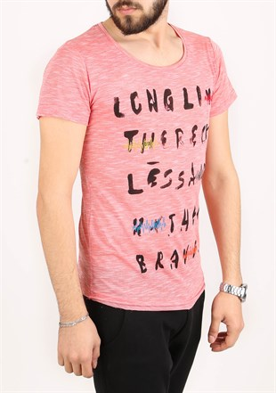 Madmext Printed Pink T-Shirt 2273