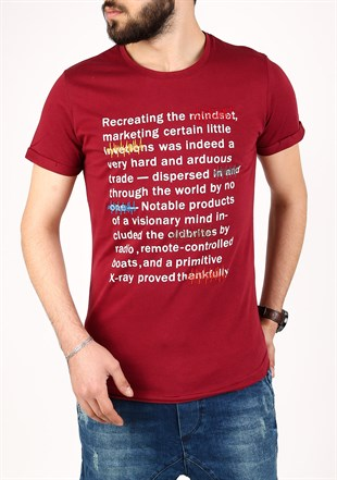 Madmext Red Printed T-shirt for Men 2307