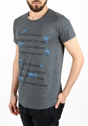 Madmext Dark Grey Printed T-shirt for Men 2488
