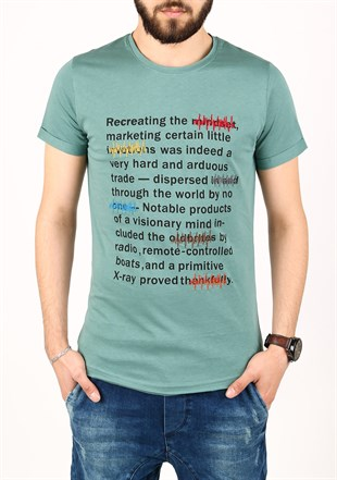Madmext Green Printed T-shirt for Men 2307