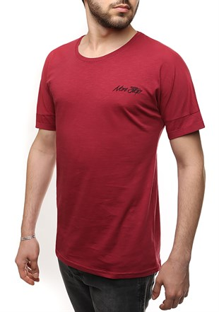 Madmext Basic Oversize Burgundy T-shirt 2532