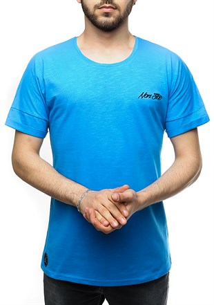 Madmext Basic Oversize Blue T-shirt 2532