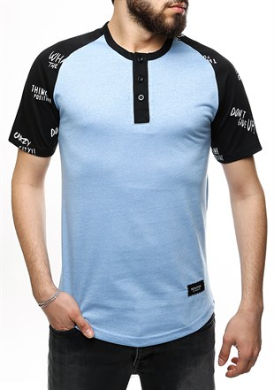 Madmext Blue Button-up T-shirt for Men 2326