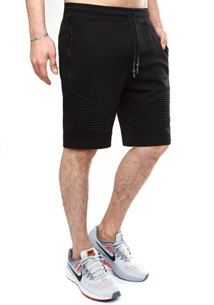 Madmext Patterned Black Fitness Shorts 2415
