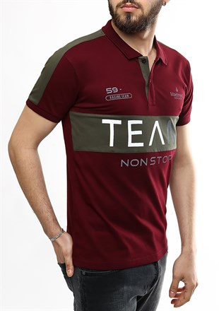 Madmext Team Baskılı Bordo Polo Yaka Tişört 2359