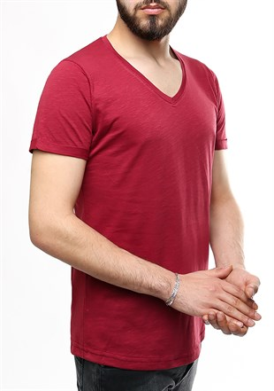 Madmext V-Yaka Bordo T-shirt 2458