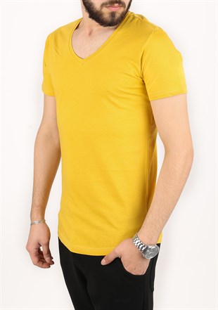 Madmext Mustard Color T-Shirt 2309