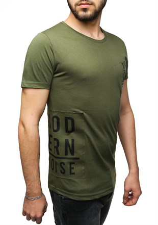 Madmext Printed Khaki T-Shirt 2465