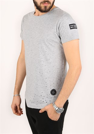 Madmext Super Relaxed Grey Men T-Shirt 1840