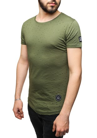 Madmext Super Relaxed Khaki Men T-Shirt 1840