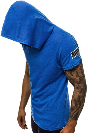 Madmext Blue Rapped T-shirt with Hood for Men 3069