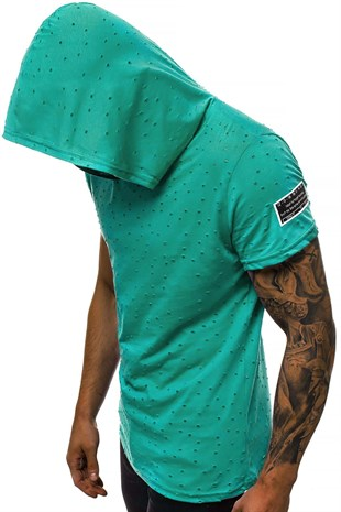 Madmext Green Rapped T-shirt with Hood for Men 3069
