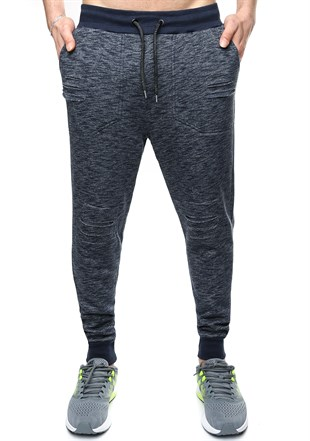 Madmext Slim Fit Navy Blue Joggers 1611