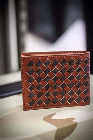 GUARD Tan Knitting Detailed Leather Wallet GRD878