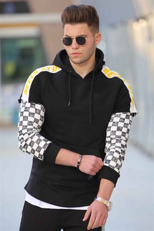 Black Long Sleeve checkered hoodies 2749
