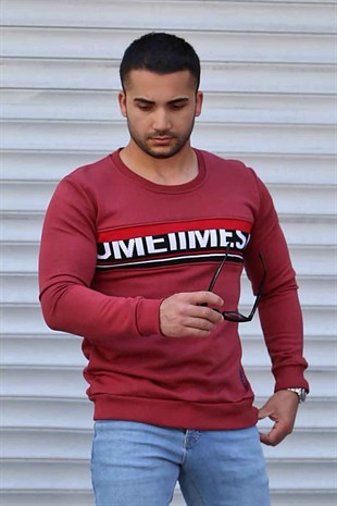 Madmext Claret Red Patterned Sweatshirt 2654