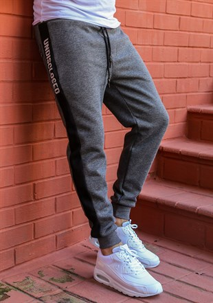 Mens Sweatpant In Striped Design Smoked Color