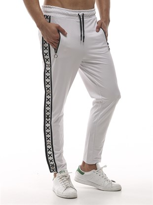 Mens Sweatpant In Striped Design White Color2440