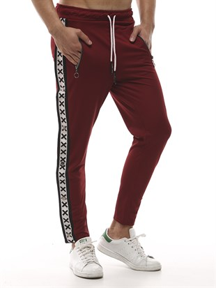 Mens Sweatpant In Striped Design Burgundy Color 2440