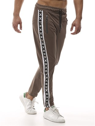 Mens Sweatpant In Striped Design Camel Color2440