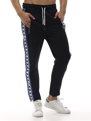 Mens Sweatpant In Striped Design Black Color2440