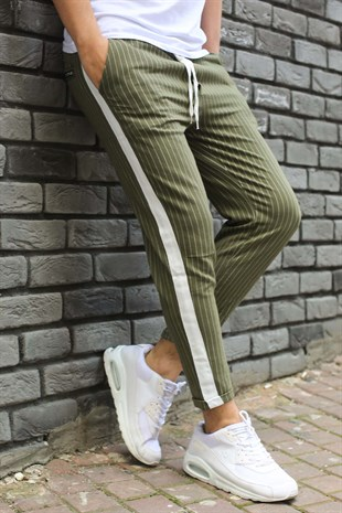 Madmext Striped Khaki Jogger 2439