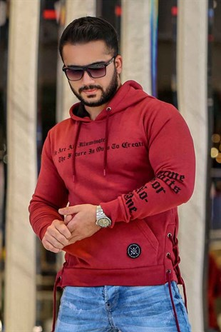 Bordo Kapşonlu Sweatshirt 2834