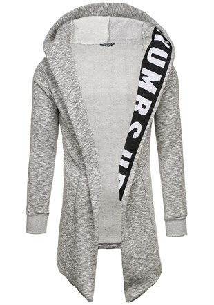 Madmext Grey Patterned Cardigan with Hooded 1773