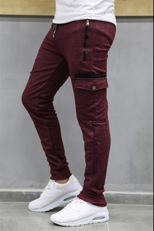 Mens Sweatpants With Pocket Details Burgundy Color 1608