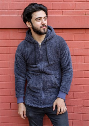 Madmext Dark Grey Plush Hoodie 2652