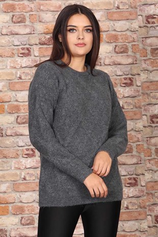 Mad Girls Anthracite Patterned Women Jumper MG698